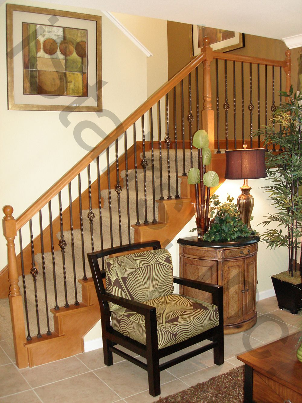Beech w/iron balusters turned newels post-to-post