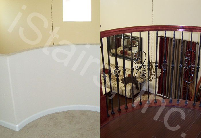 Before-1/2 wall / After-Cherry w/iron balusters