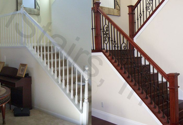 Before-All paint grade turned / After-Cherry w/iron balusters & paint grade skirt square