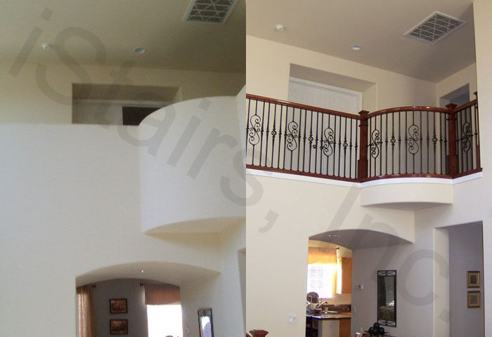 Before-1/2 wall / After-Cherry w/iron balusters & paint grade skirt board square
