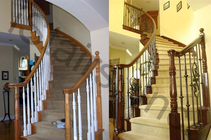 Before-Oak w/paint grade balusters turned / After-Cherry w/iron balusters turned