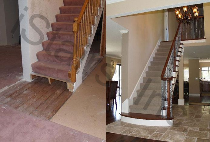 Before-All oak turned / After-Cherry w/paint grade skirt board, risers & iron balusters turned