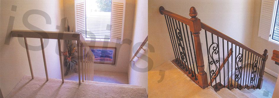 Before-Painted rail / After-Beech w/iron balusters & paint grade skirt board turned