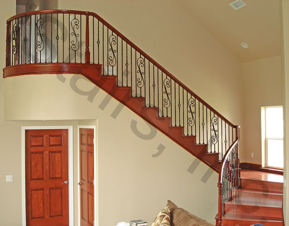 ... Cherry W/iron Balusters Turned Over The Post ...