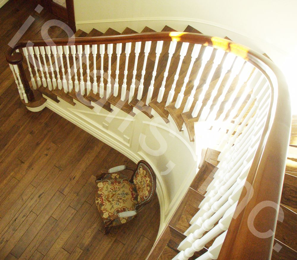 Alder with paint-grade skirt board, risers & balusters turned system