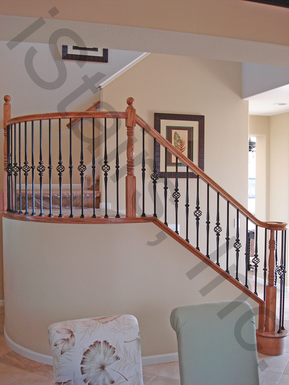 Oak w/iron balusters turned