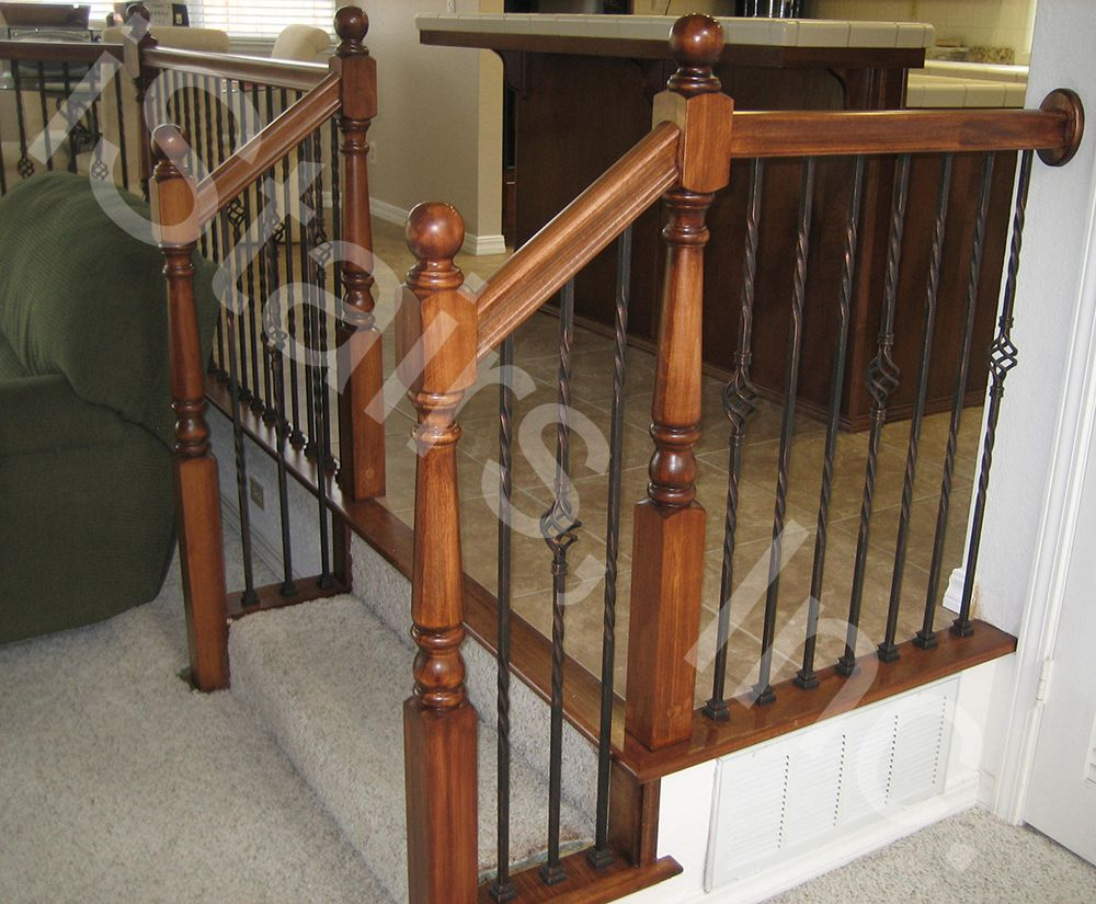 Poplar w/copper patina iron balusters turned post to post