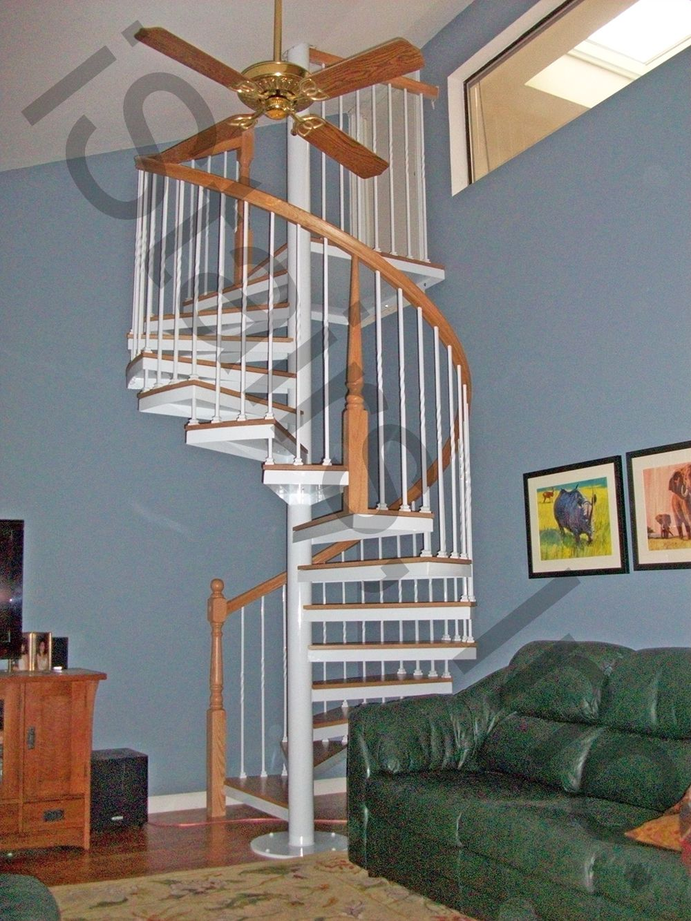 Paint grade w/oak rail, posts, treads & ceiling fan sprial staircase